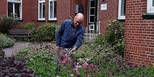 Dr. Sören Petershans begutachtet die tollen Blüten der Akeleipflanzen